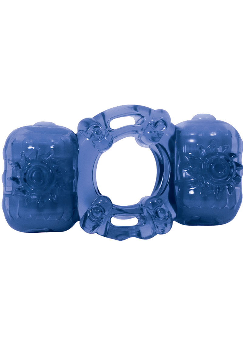 Partners Pleasure Ring Silicone Vibrating Cock Ring - Blue